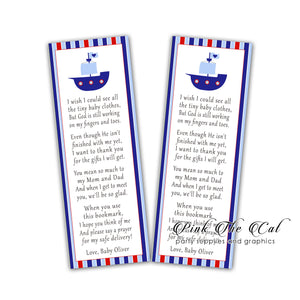 Nautical boy blue bookmarks girl baby shower favors printable