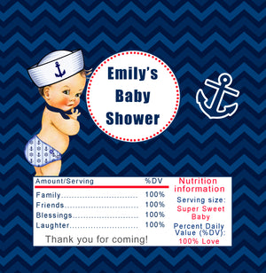 Candy bar wrappers nautical baby shower printable