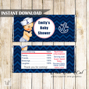 Candy bar wrappers nautical baby shower printable instant download