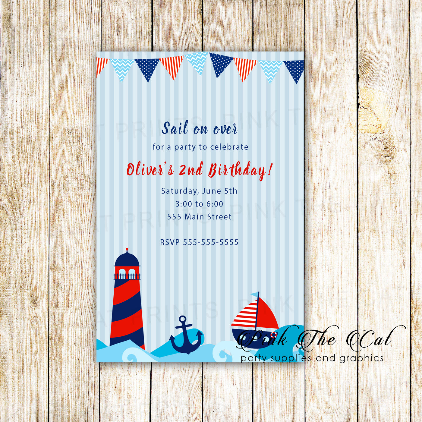 30 Nautical Birthday Invitations Boy Red Blue Personalized