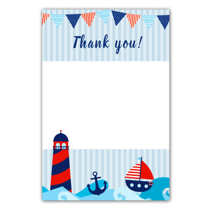 30 blank thank you cards nautical red blue