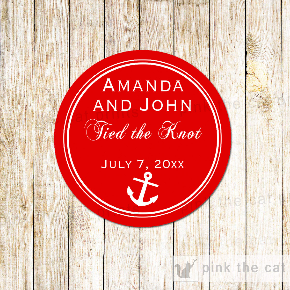Nautical Gift Favor Tag Sticker Red White Anchor Wedding Printable ...