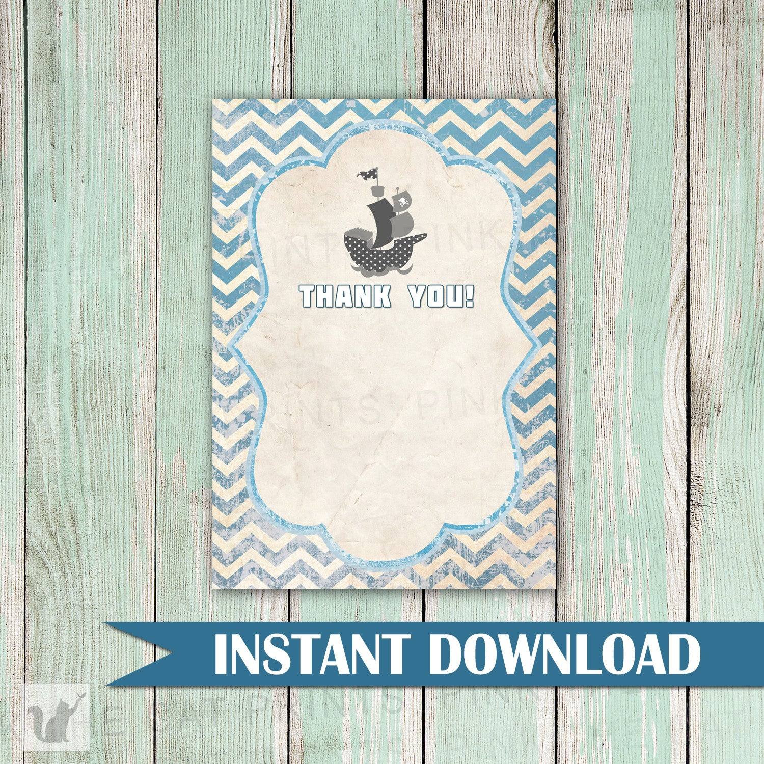 nautical thank you card note vintage printable birthday baby shower