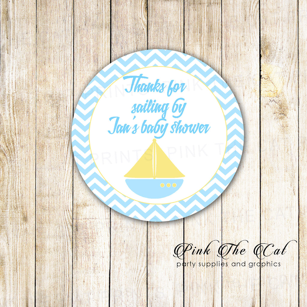 40 Nautical Stickers Label Yellow Blue Boat Birthday Baby Shower
