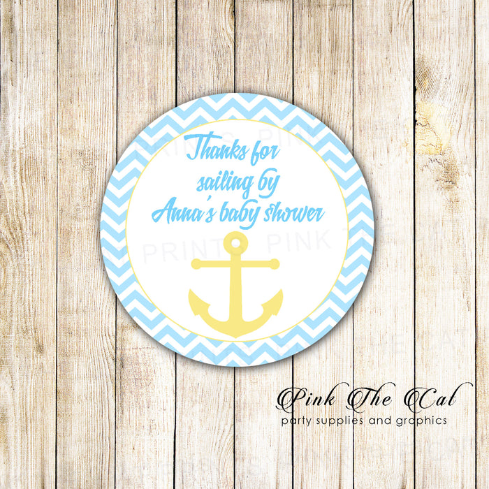 40 Nautical Stickers Label Yellow Blue Anchor Birthday Baby Shower