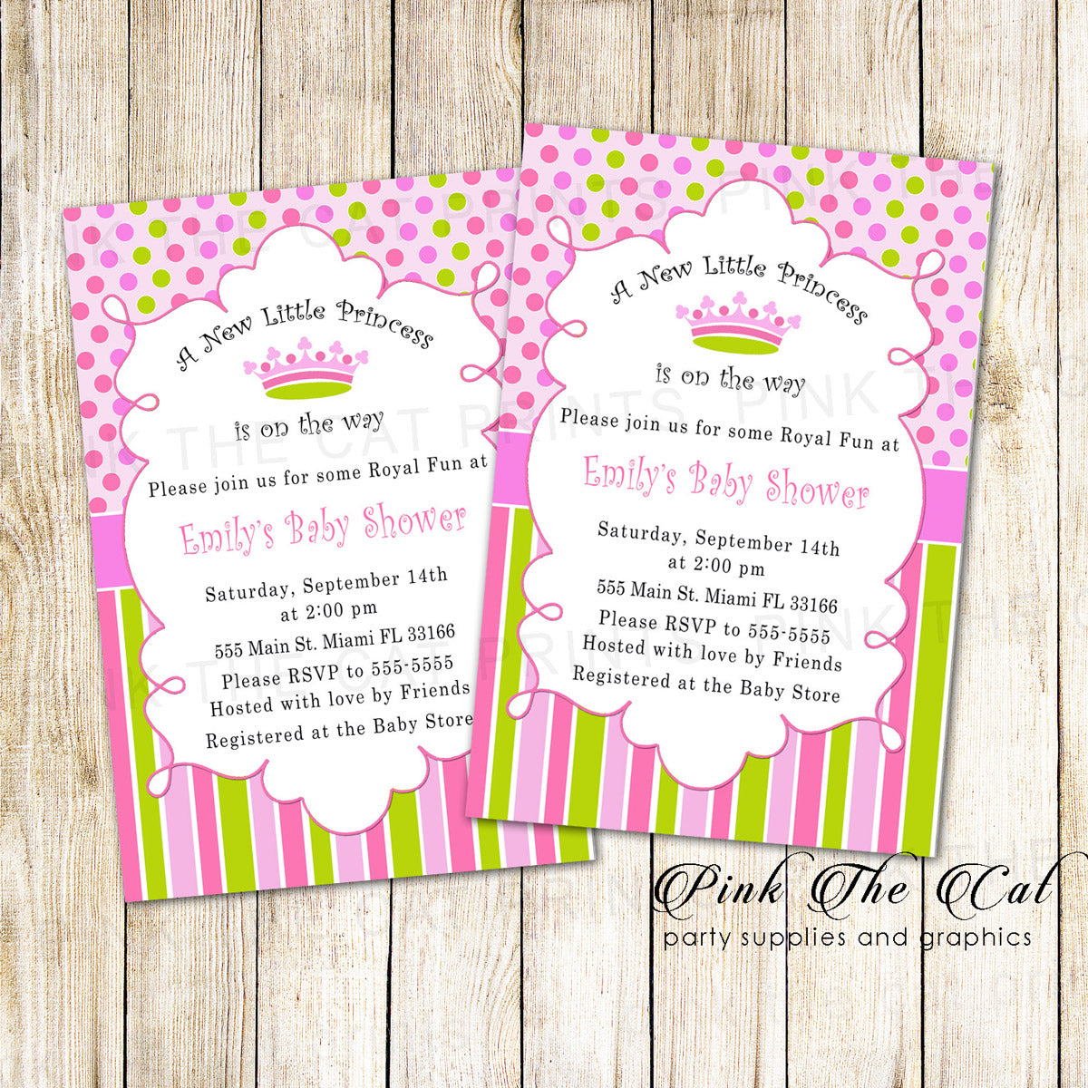 New Little Princess Baby Shower Invitation Card Pink Green