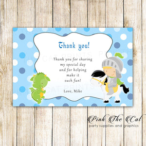30 Thank You Cards Knight Dragon Baby Shower Birthday