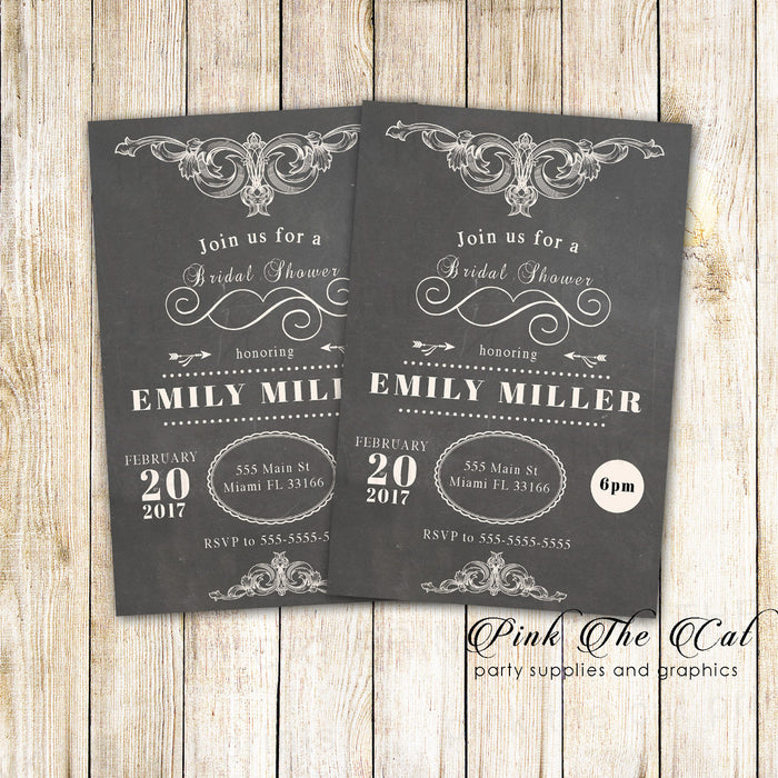 30 Chalkboard Vintage Bridal Shower Invitation s