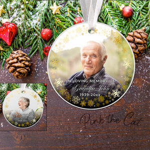 Christmas ornament memorial photo grandpa grandma