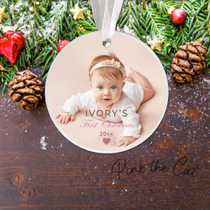 Personalized Christmas ornament with girl photo