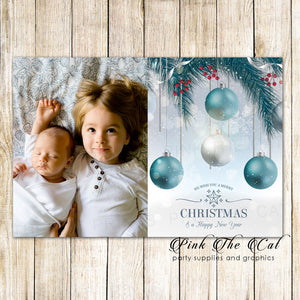 30 Holiday christmas greeting cards ornaments with photo