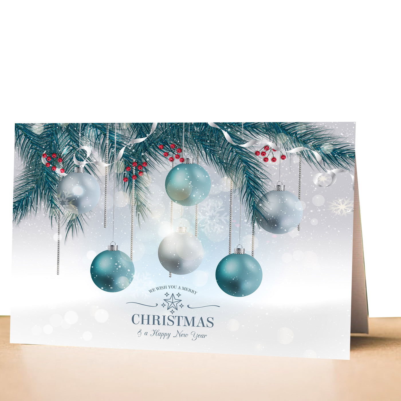 100 greeting cards christmas holiday blue ornaments – Pink The Cat