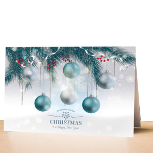 100 greeting cards christmas holiday blue ornaments