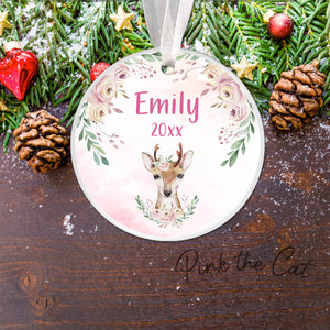 Christmas tree deer boho ornament