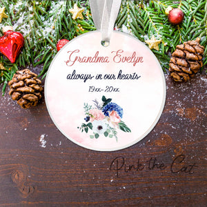 Christmas ornament grandma memorial pink blue