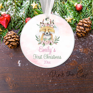 Christmas tree fox boho ornament