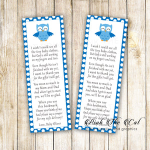 Blue owl bookmarks printable baby shower favors personalized