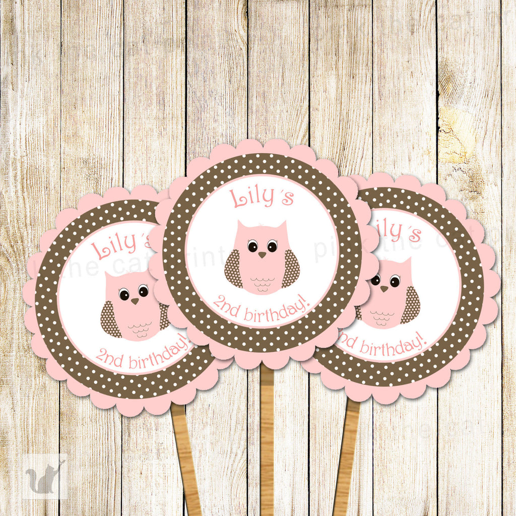 Owl Cupcake Topper Baby Girl Shower Birthday Pink Brown Polka Dots