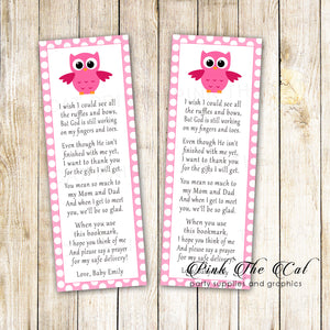 Pink owl bookmarks baby shower favors name personalized printable
