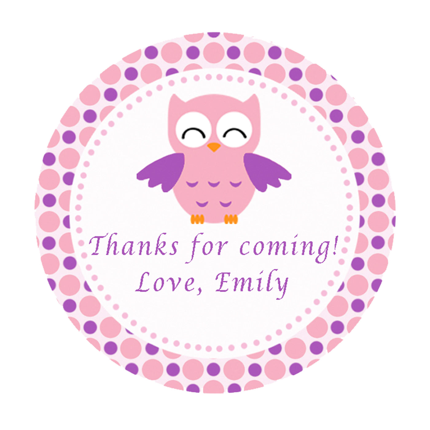 70 stickers owl purple pink personalized favor labels birthday baby shower