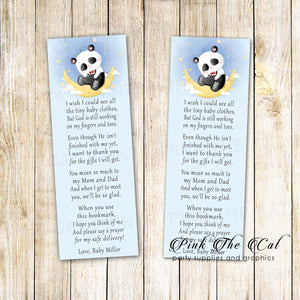 Panda bear bookmarks baby shower favors personalized printable