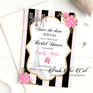 Paris chic invitations pink black bridal wedding shower printable