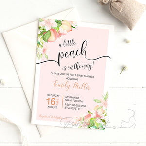 A little peach on the way baby shower or by mail distant invitation