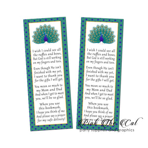 Peacock bookmarks purple teal printable baby shower favors