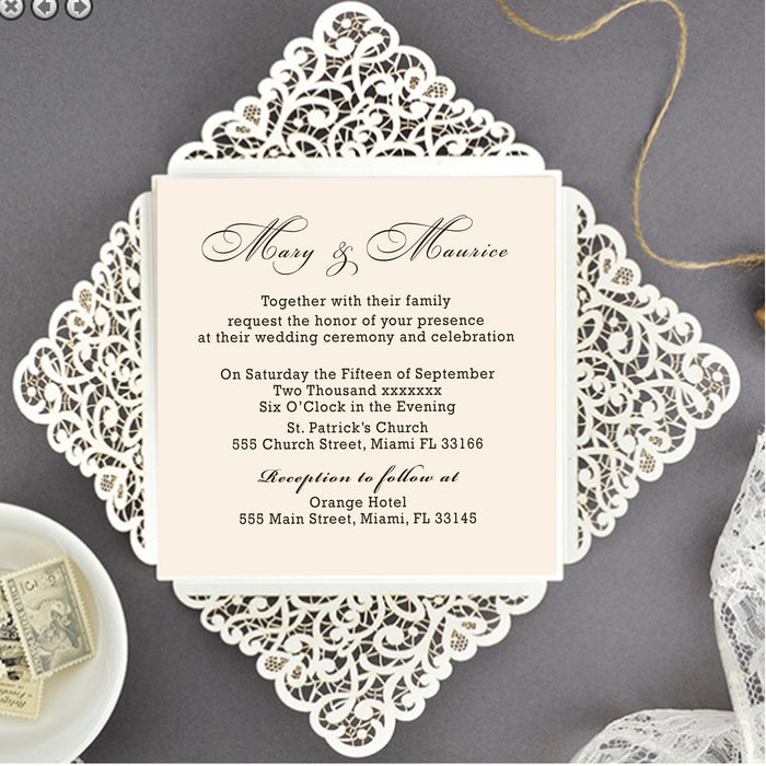 30 invitations laser cut petal pocket fold