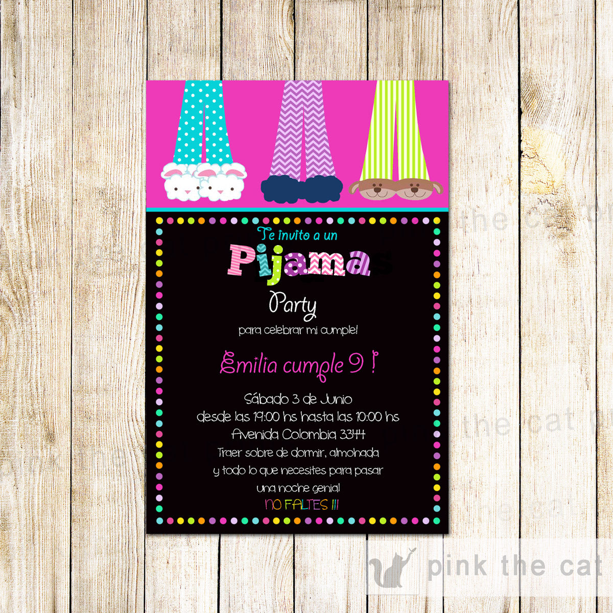 25 Printed Invitations Pijama Party Girl Birthday Party Espanol