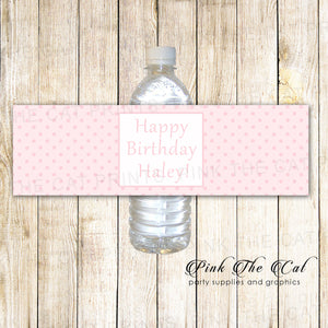 pink polka dots water bottle labels