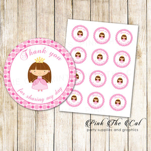 Princess Favor Labels Thank You Tags
