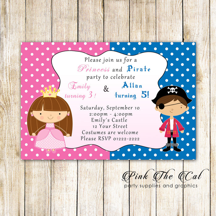 Princess Pirate Kids Birthday Party Invitation