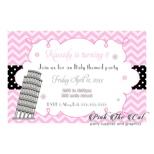 30 Pisa tower italian girl birthday party invitations pink personalized