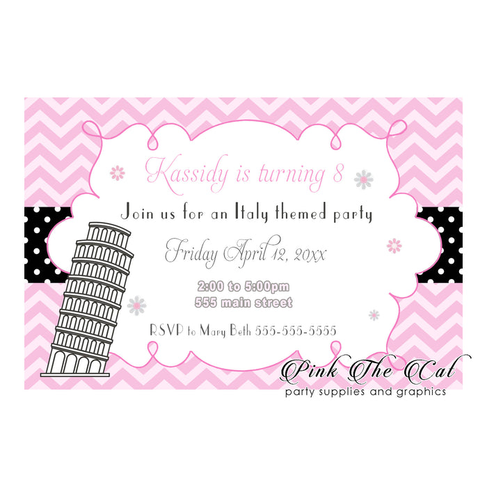 Pisa tower italian party invitations pink printable