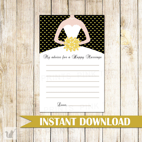 Gold Black Bridal Shower Advice Cards