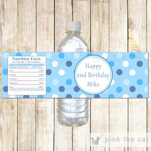 Blue Polka Dots 1st Birthday Bottle Label