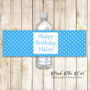 blue water bottle labels birthday baby shower printable
