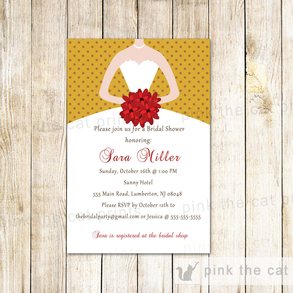 Gold Red Invitations Sweet 16 Bridal Shower Wedding Dress