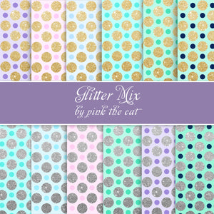 12 Glitter Silver Gold Metallic Background Paper Pink Blue Green