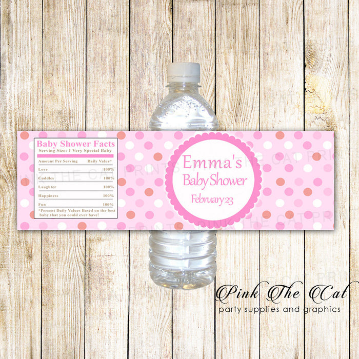 Pink Polka Dots Bottle Label Birthday Baby Shower