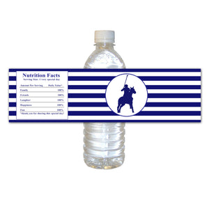 Polo navy blue bottle label (set of 30) birthday boy baby shower striped