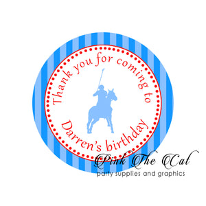 70 Polo gift favor stickers blue red birthday baby shower personalized