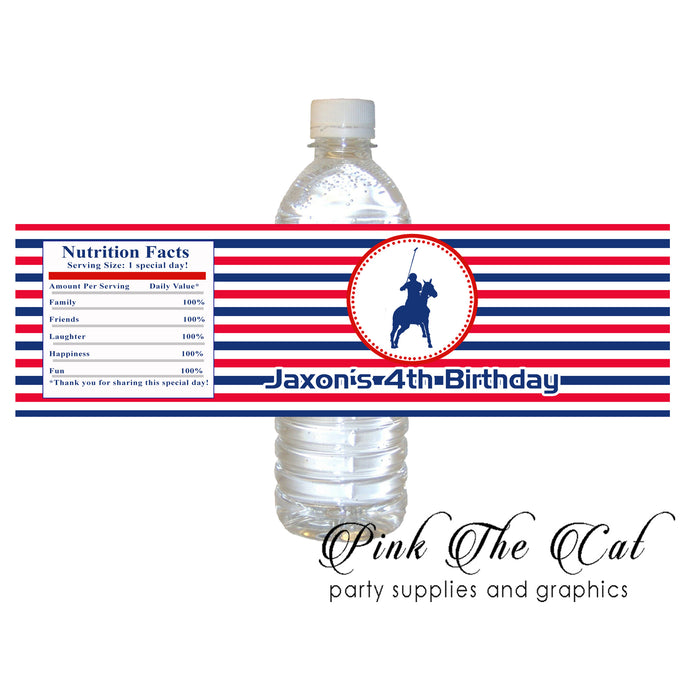 Polo blue red bottle label printable