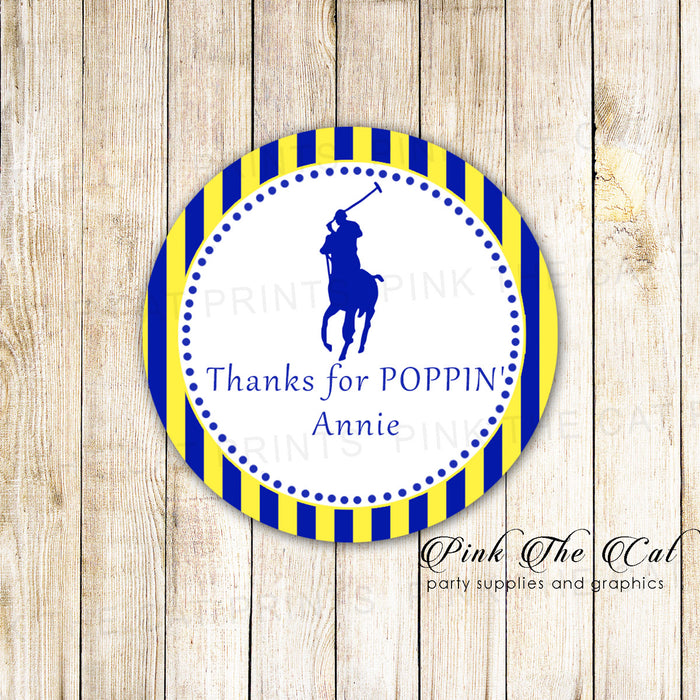 40 stickers polo blue yellow birthday baby shower favor label sticker