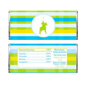 30 candy bar wrappers polo blue yellow green labels