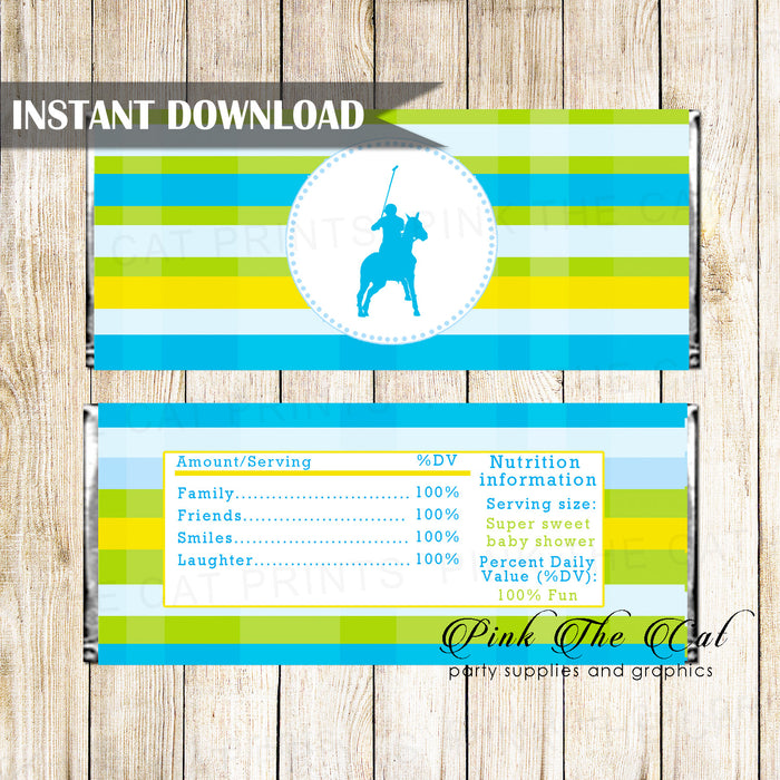 Polo Candy Bar Wrapper Label Blue Green Printable