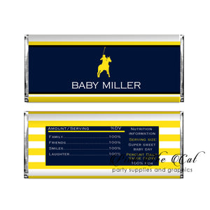 30 Polo blue yellow candy bar wrapper birthday baby shower favors
