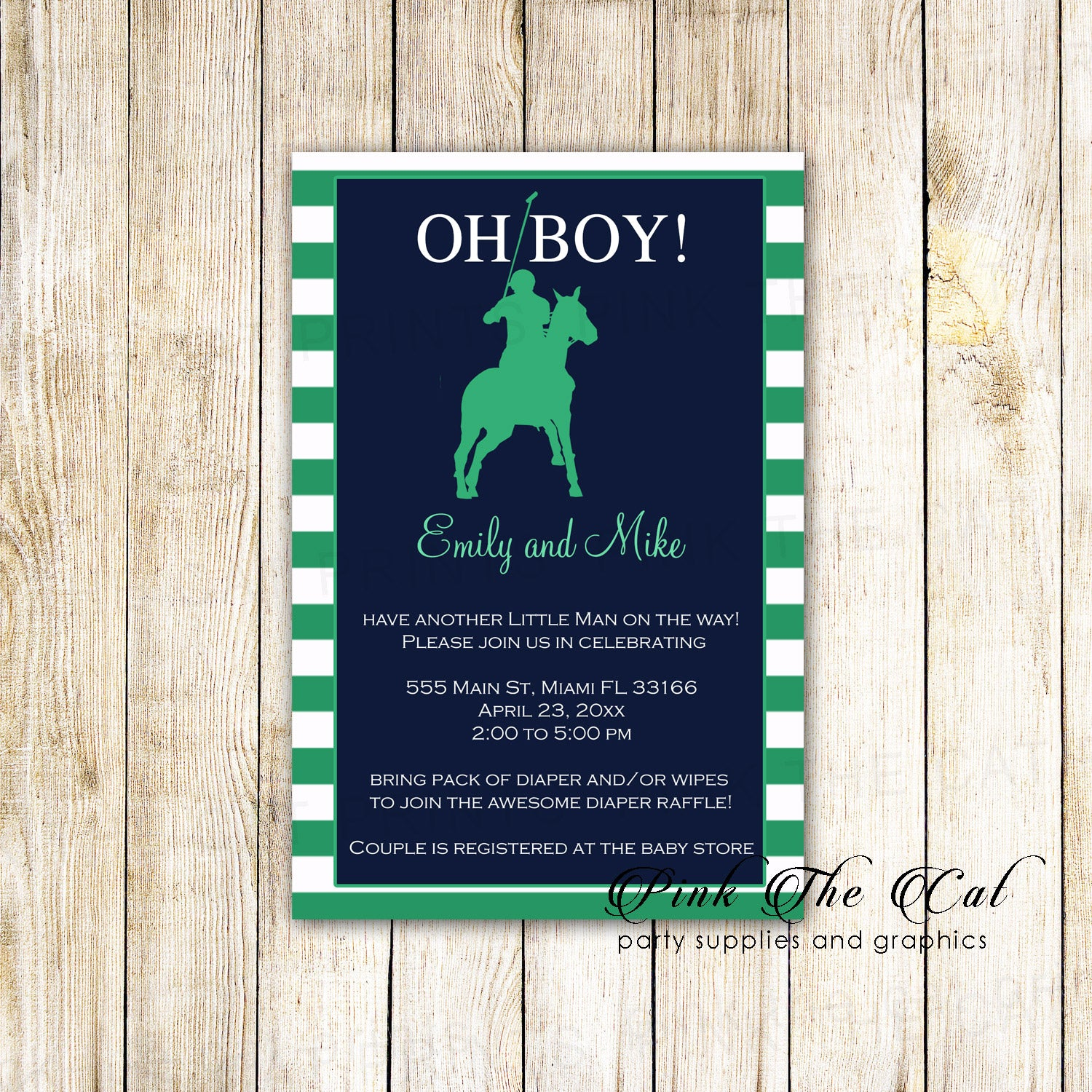 30 Polo green blue invitations birthday baby shower with envelopes