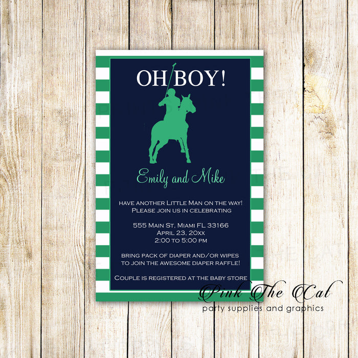Polo green invitations photo paper (set of 30)